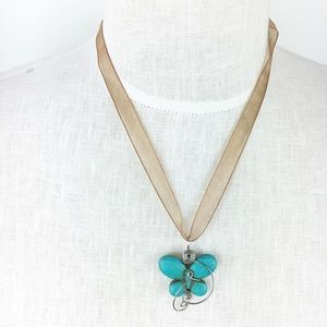 Jewelry - Turquoise Butterfly Necklace Organza Ribbon Boho